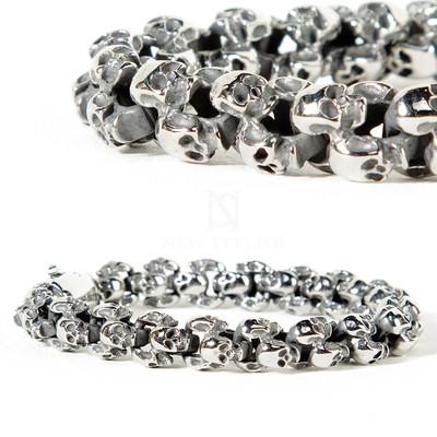 Tiny skull metal bracelet
