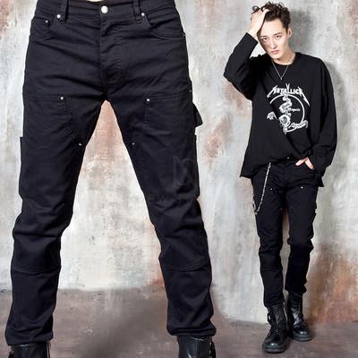 Seam line strap black slim jeans