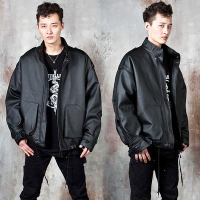 Oversized leather zip-up jacket