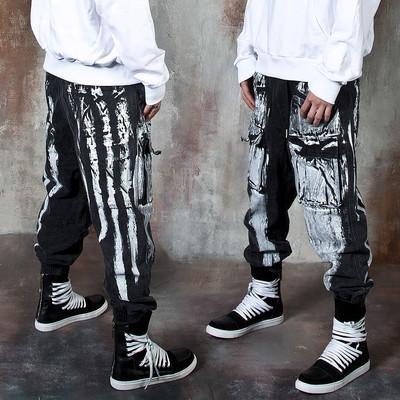 Hand painted denim baggy jogger pants