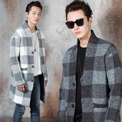 Checkered knit single coat