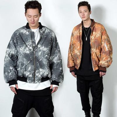 Grunge crack patterned air-force jacket