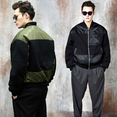 Knit contrast air-force jacket