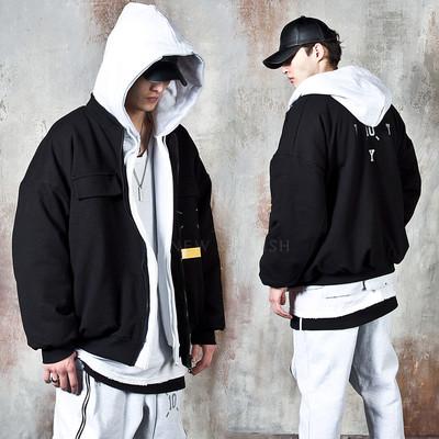 Fleece-lined oversized zip-up jacket