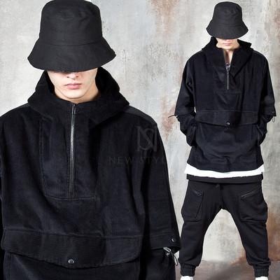 Sleeve opening corduroy hooded anorak jacket