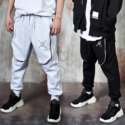 Long curved zipper 3D pocket banded pants