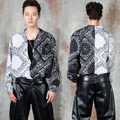 Half contrast paisley button up shirts