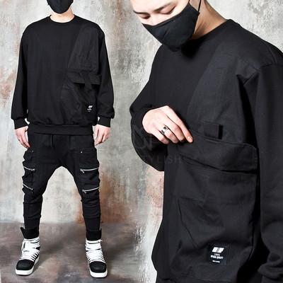 Contrast big pocket sweatshirts