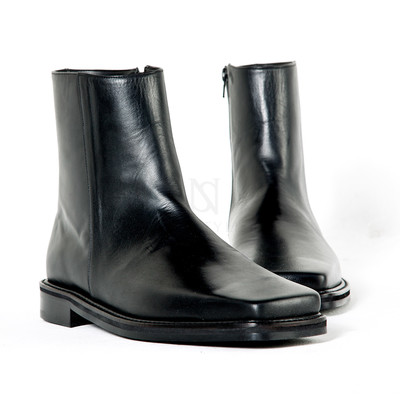 Squared toe genuine leather boots