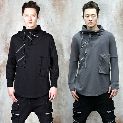 Double zipper V-line armwarmer hooded t-shirts