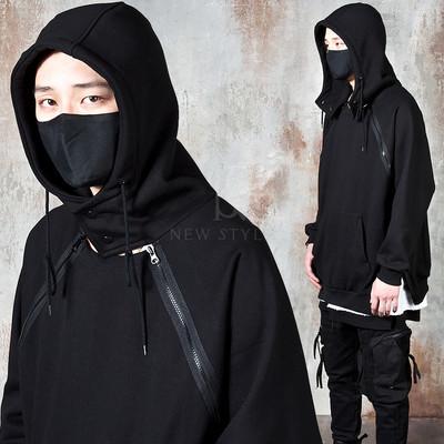 Diagonal double long zipper hoodie