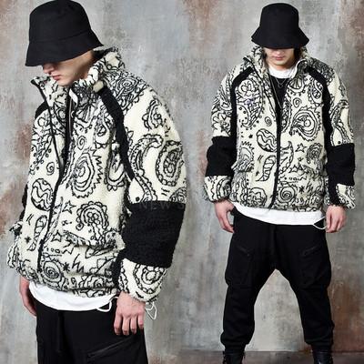 Contrast paisley fleece zip-up jacket