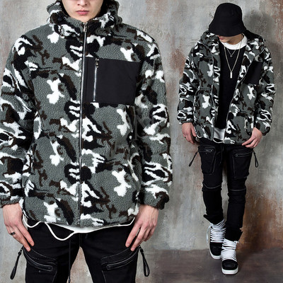 Hooded camouflage fleece zip-up jacket