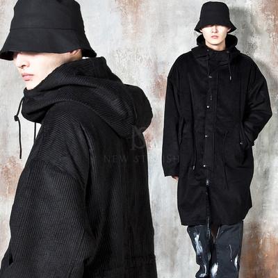 Corduroy turtleneck hooded long jacket