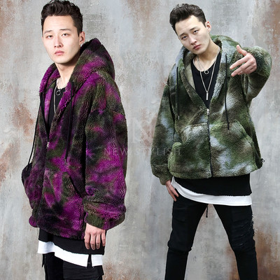 Reversible tie-dye fleece hooded zip-up jacket