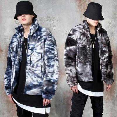 Padded lining tie-dye fleece zip-up jacket