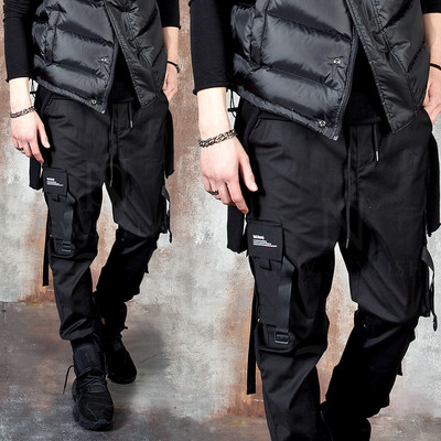 Buckle strap techwear black cargo pants