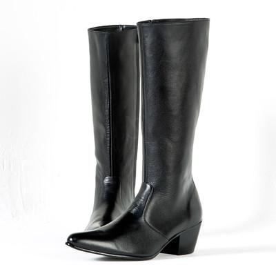 High-heel zip-up long boots