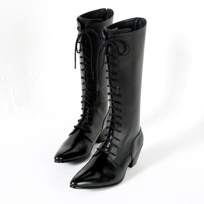 Lace-up high-heel long boots