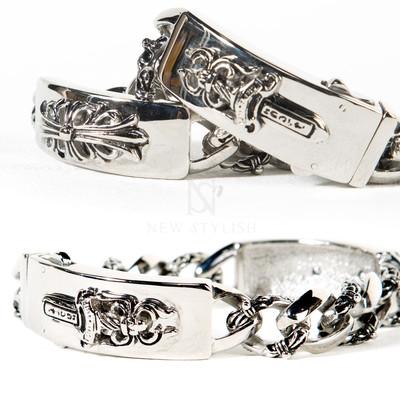 Heraldry symbol double bar chain bracelet