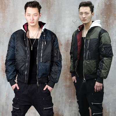 Detachable hood contrast bomber jacket