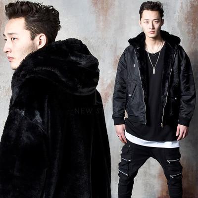 Reversible fur hooded bomber jacket