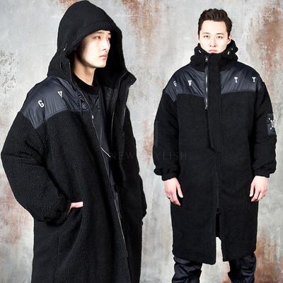 Oversized fleeced hooded turtleneck long jacket