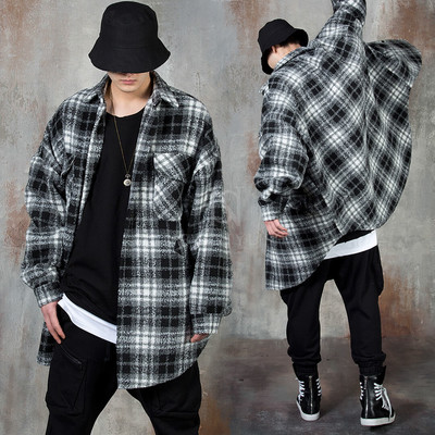 Oversized round hem checkered shirt jacket