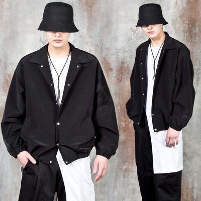 Banded hem button-up jacket