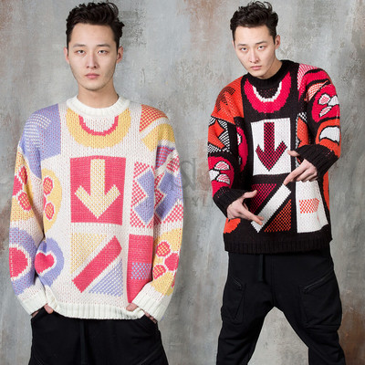 Multiple contrast signal knit sweater