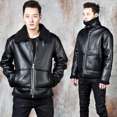 Fleece lined double faced leather jacket