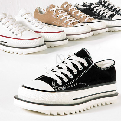 Contrast saw edge outsole canvas sneakers