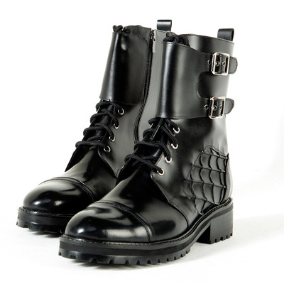 Web pattern accent leather biker boots