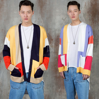 Multiple contrast knit cardigan