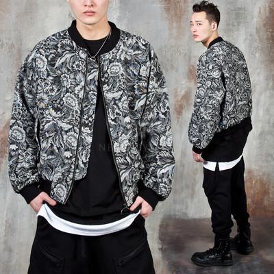Flower patterned zip-up jacket