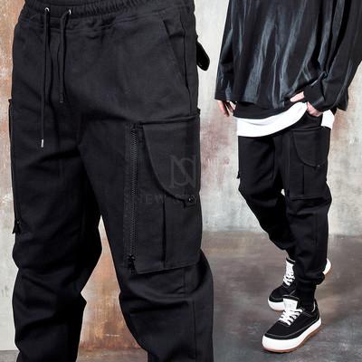 Big zipper pocket banded pants