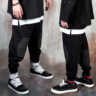 Foam fabric stripe contrast baggy sweatpants