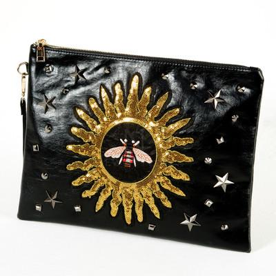 Gold spangle clutch bag