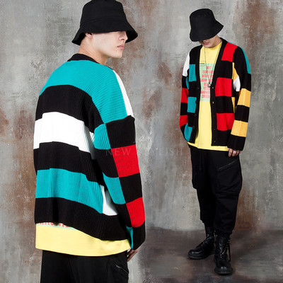 Multiple contrast checkered knit cardigan