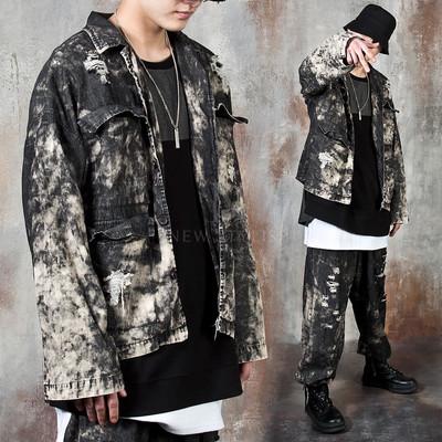 Distressed grunge washed jacket