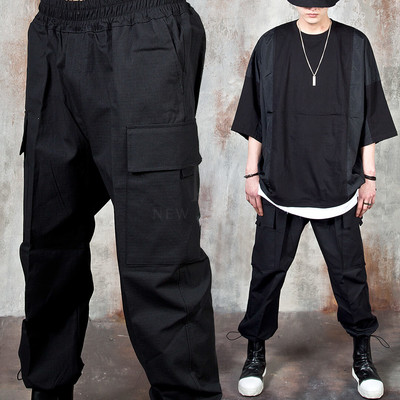 String hem banded baggy cargo pants