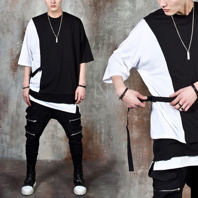 One side buckle strap contrast t-shirts