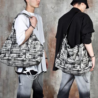 Distressed grunge patterned cross shopper bag