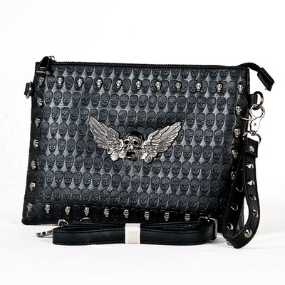 Skull wing studded leather clutch bag