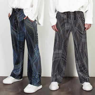 Futuristic wave-patterned banded pants