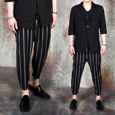 Striped baggy capri pants
