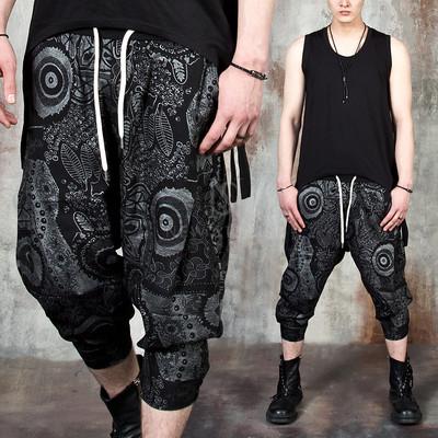 Multiple silver pattern capri baggy pants