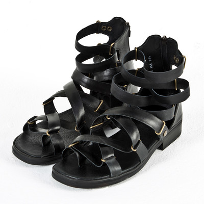 Hand-crafted all black gladiator sandals