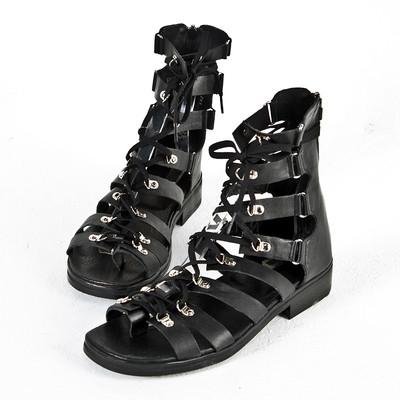 Lace-up all-black modern gladiator sandals