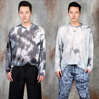 Tie-dye see-through long sleeve t-shirts